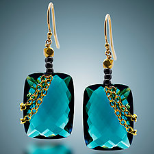 London Blue Quartz Earrings by Judy Bliss (Gold & Stone Earrings)