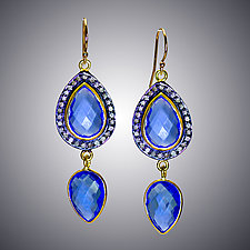 Blue Quartz and Diamond Set by Judy Bliss (Gold & Stone Earrings)
