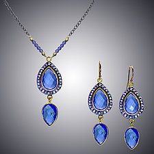 Blue Quartz and Diamond Set by Judy Bliss (Gold & Stone Necklace)