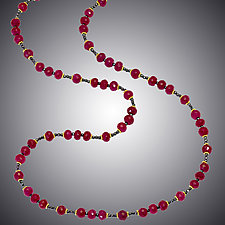 Ruby and Hematite Necklace by Judy Bliss (Gold & Stone Necklace)