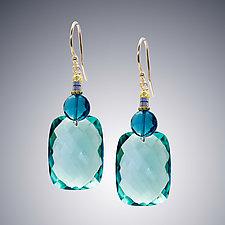 Aqua Quartz, London Blue Quartz, and Pyrite Earrings by Judy Bliss (Silver & Stone Earrings)