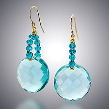 Aqua Quartz Earrings by Judy Bliss (Gold & Stone Earrings)