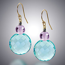 Aqua Quartz and Pink Amethyst Earrings by Judy Bliss (Gold & Stone Earrings)