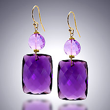 Amethyst and Pink Amethyst Earrings by Judy Bliss (Gold & Stone Earrings)
