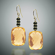 Gold Quartz Earrings by Judy Bliss (Gold & Stone Earrings)