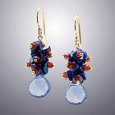 Blue Quartz, Hematite, and Garnet Earrings by Judy Bliss (Gold & Stone Earrings)