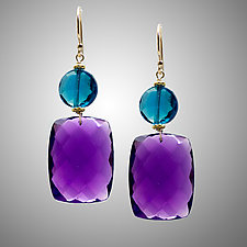 Amethyst and London Blue Quartz Earrings by Judy Bliss (Gold & Stone Earrings)