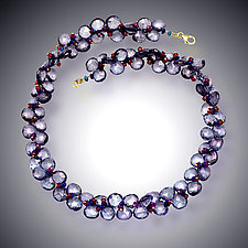 Blue Quartz, Hematite and Garnet Necklace by Judy Bliss (Gold & Stone Necklace)