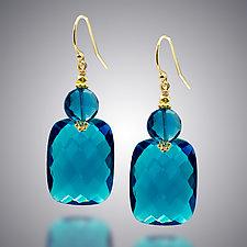 London Blue Quartz Earrings by Judy Bliss (Gold & Stone Earrings)