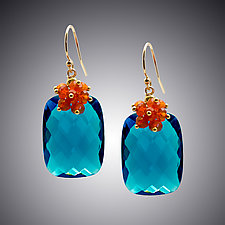 London Blue Quartz and Carnelian Earrings by Judy Bliss (Gold & Stone Earrings)