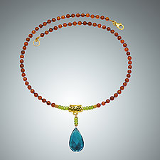 Carnelian, Peridot, and London Blue Quartz Necklace by Judy Bliss (Gold & Stone Necklace)