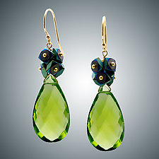 Peridot Quartz Earrings by Judy Bliss (Gold & Stone Earrings)
