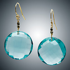 Aqua Quartz and Pyrite Earrings by Judy Bliss (Gold & Stone Earrings)
