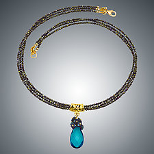 London Blue Quartz Teardrop and Spinel Necklace by Judy Bliss (Beaded Necklace)