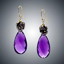 Amethyst Cluster Earrings by Judy Bliss (Gold & Stone Earrings)