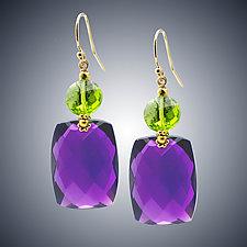 Amethyst and Peridot Quartz Earrings by Judy Bliss (Gold & Stone Earrings)