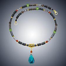 Carnival III London Blue Quartz Teardrop by Judy Bliss (Gold & Stone Necklace)