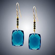 London Blue Quartz Chiclet Earrings by Judy Bliss (Gold & Stone Earrings)