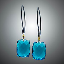 London Blue Quartz Mini with Oxidized Silver by Judy Bliss (Silver & Stone Earrings)