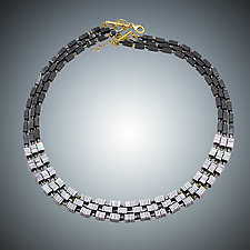 Hematite Squares Necklace by Judy Bliss (Gold & Stone Necklace)