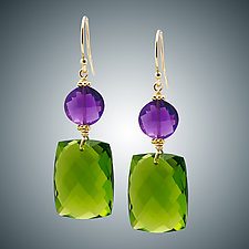 Peridot Quartz and Amethyst Mini Earrings by Judy Bliss (Gold & Stone Earrings)