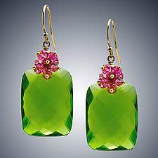 Peridot and Pink Quartz Earrings by Judy Bliss (Gold & Stone Earrings)