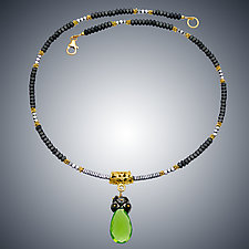 Hematite and Peridot Quartz Necklace by Judy Bliss (Gold & Stone Necklace)
