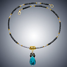 Hematite and London Blue Quartz Necklace II by Judy Bliss (Gold & Stone Necklace)