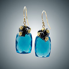 London Blue Quartz and Hematite Mini Earrings by Judy Bliss (Gold & Stone Earrings)