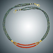 Green Hematite and Carnelian Necklace by Judy Bliss (Gold & Stone Necklace)