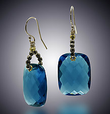 Pyrite and London Blue Quartz Earrings by Judy Bliss (Gold & Stone Earrings)