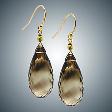 Citrine Briolette Earrings by Judy Bliss (Gold & Stone Earrings)