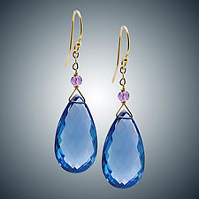 Blue Quartz Earrings with Pink Amethyst by Judy Bliss (Gold & Stone Earrings)