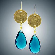 London Blue Quartz Earrings with Vermeil by Judy Bliss (Gold & Stone Earrings)