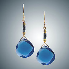 Blue Quartz Heart Earrings with Hematite by Judy Bliss (Gold & Stone Earrings)