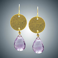 Vermeil Disc and Pink Amethyst Earrings by Judy Bliss (Gold & Stone Earrings)