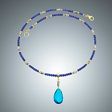 Lapis and London Blue Quartz Necklace by Judy Bliss (Gold & Stone Necklace)
