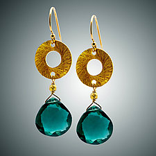 Green Quartz and Vermeil Disc Earrings by Judy Bliss (Gold & Stone Earrings)