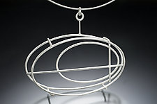 Large Structural Oval Necklace by Donna D'Aquino (Silver Necklace)