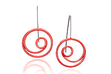 Red Circle in Circle Earrings by Donna D'Aquino (Silver Earrings)
