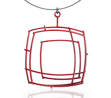 Red Square Structure Pendant by Donna D'Aquino (Silver Necklace)