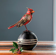 Cardinal on Croquet Ball by Jim and Tori Mullan (Wood Sculpture)