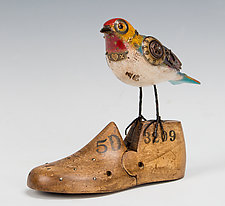 Queen Bird on Vintage Shoe Form by Jim and Tori Mullan (Wood Sculpture)