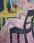 Nude Smoking by Elisa Root (Oil Painting)