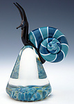 Blue Cosmo Snail by Eric Bailey (Art Glass Paperweight)