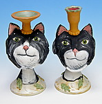 Tuxedo Cat Candleholders by Amy Goldstein-Rice (Ceramic Candleholder)
