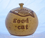 Good Cat Treat Jar by Louise Bilodeau (Ceramic Jar)