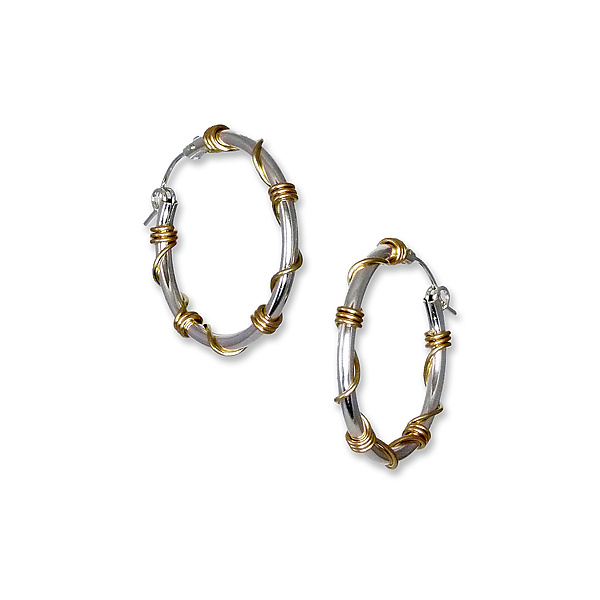 Medium Silver and Gold Wrapped Hoops