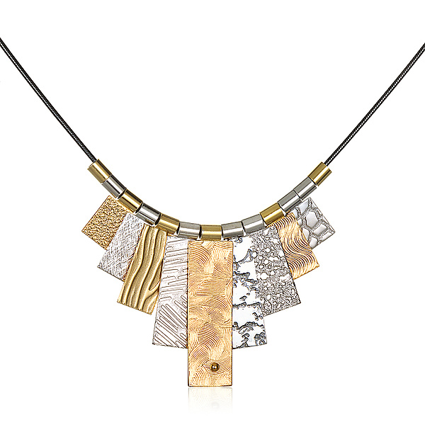 Black/Gold/Silver Multi-Tab Necklace