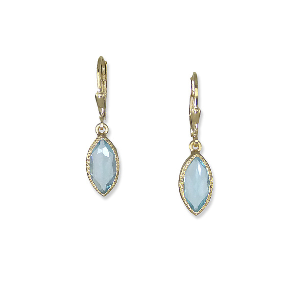 Gold Blue Topaz Marquise Earrings